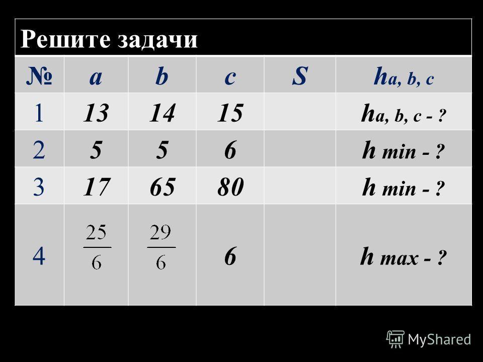 Решите задачи abcSh a, b, c 1131415h a, b, c - ? 2556h min - ? 3176580h min - ? 46h max - ?