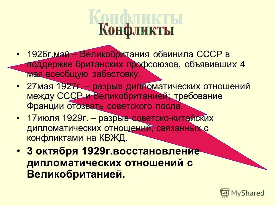 1926г.май – Великобритания обвинила СССР в поддержке британских профсоюзов, объявивших 4 мая всеобщую забастовку. 27мая 1927г. – разрыв дипломатических отношений между СССР и Великобританией; требование Франции отозвать советского посла. 17июля 1929г