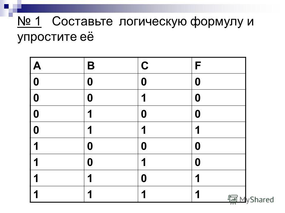 ABCF 0000 0010 0100 0111 1000 1010 1101 1111 1 Составьте логическую формулу и упростите её