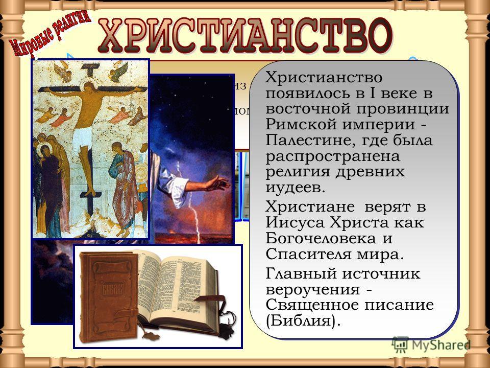 Христианство одна из трех мировых религий (наряду с исламом и буддизмом). Христианство одна из трех мировых религий (наряду с исламом и буддизмом). Христианство появилось в I веке в восточной провинции Римской империи - Палестине, где была распростра