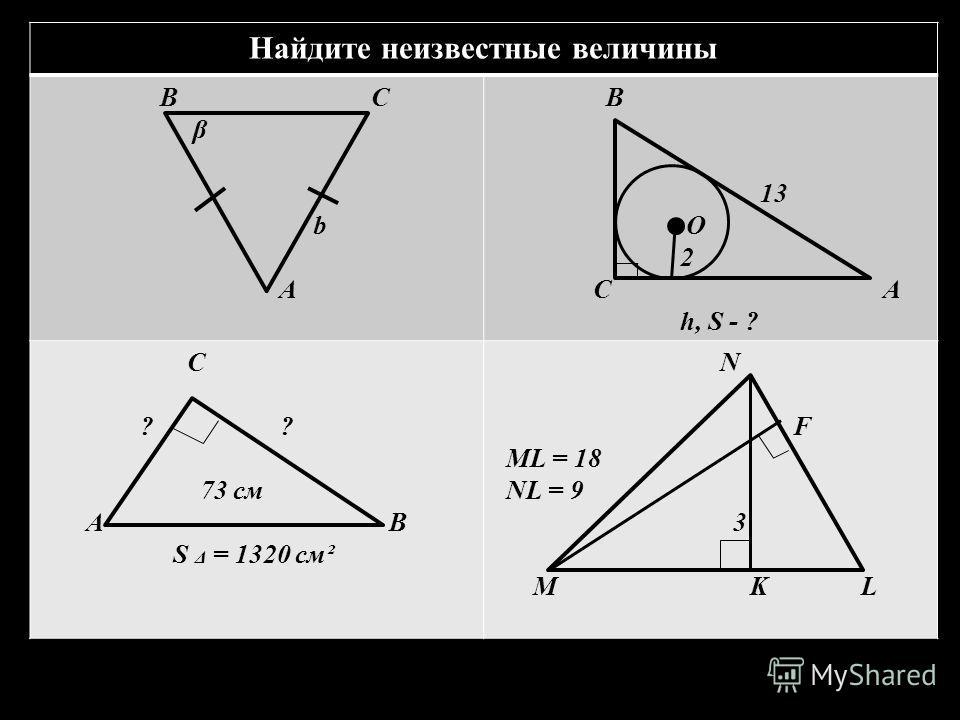 Найдите неизвестные величины В С β b A B 13 О 2 C A h, S - ? C ? ? 73 см A В S Δ = 1320 cм² N F ML = 18 NL = 9 3 M K L
