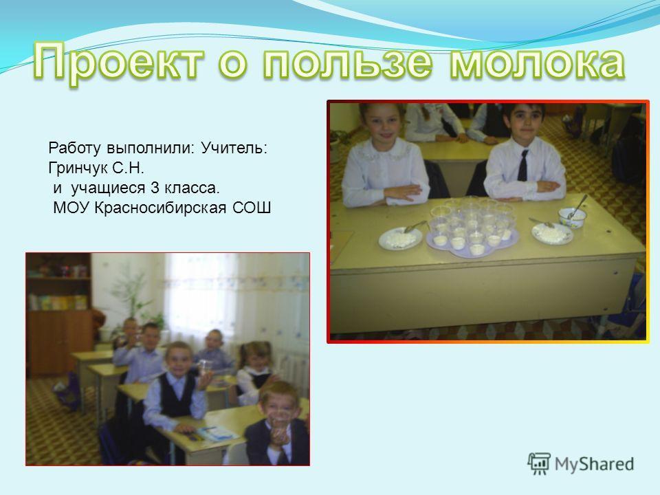 Работу выполнили: Учитель: Гринчук С.Н. и учащиеся 3 класса. МОУ Красносибирская СОШ