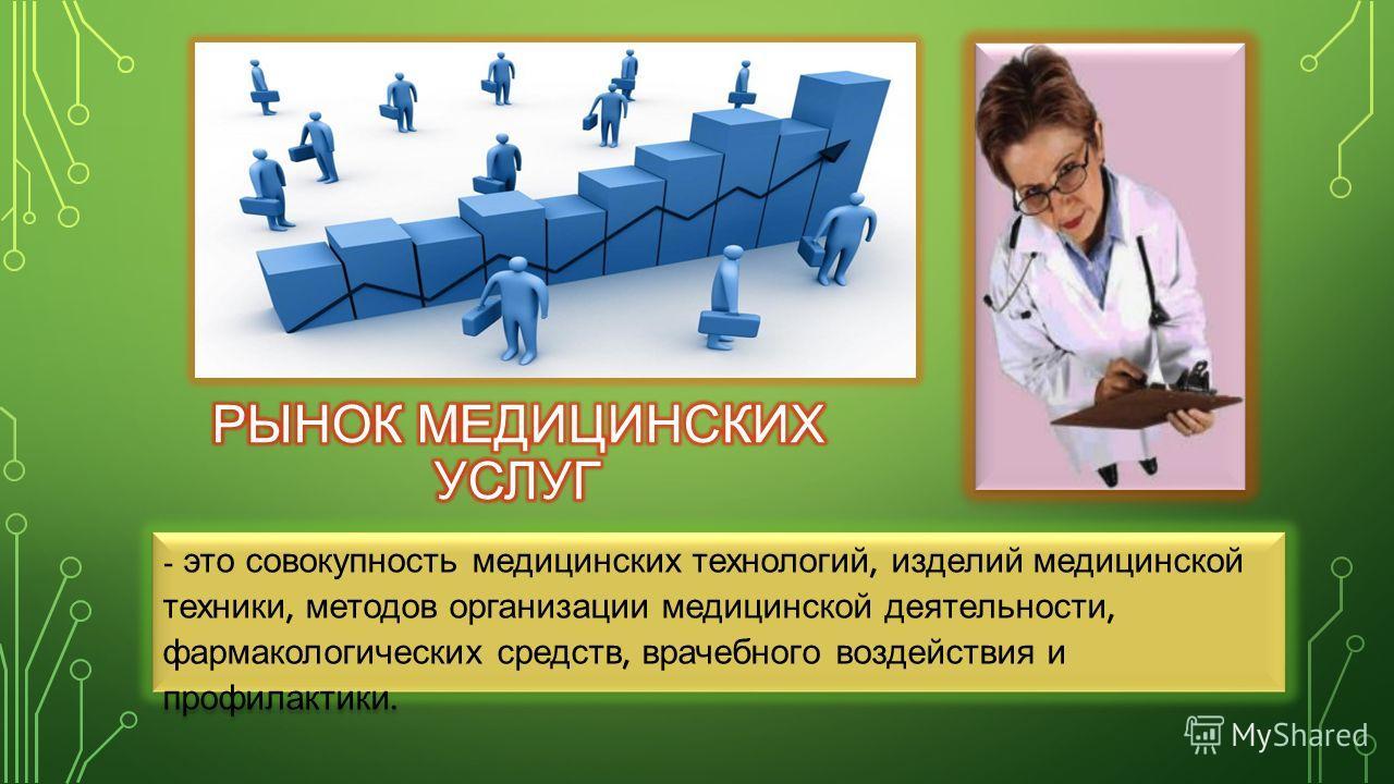 - это совокупность медицинских технологий, изделий медицинской техники, методов организации медицинской деятельности, фармакологических средств, врачебного воздействия и профилактики.