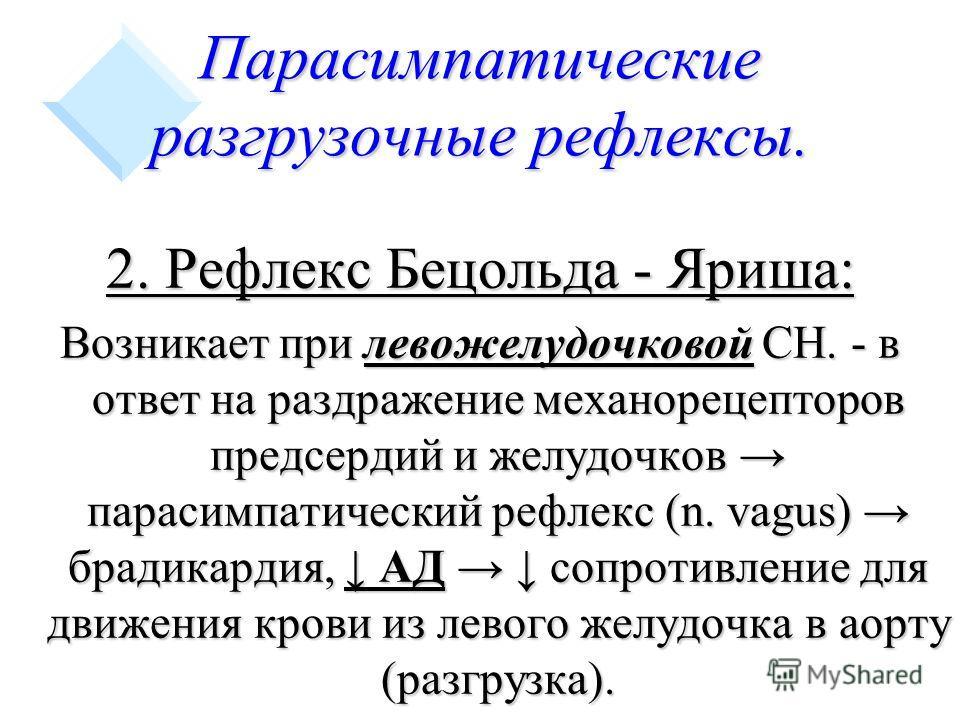 Парасимпатические разгрузочные рефлексы. 2. Рефлекс Бецольда - Яриша: Возникает при левожелудочковой СН. - в ответ на раздражение механорецепторов предсердий и желудочков парасимпатический рефлекс (n. vagus) брадикардия, АД сопротивление для движения