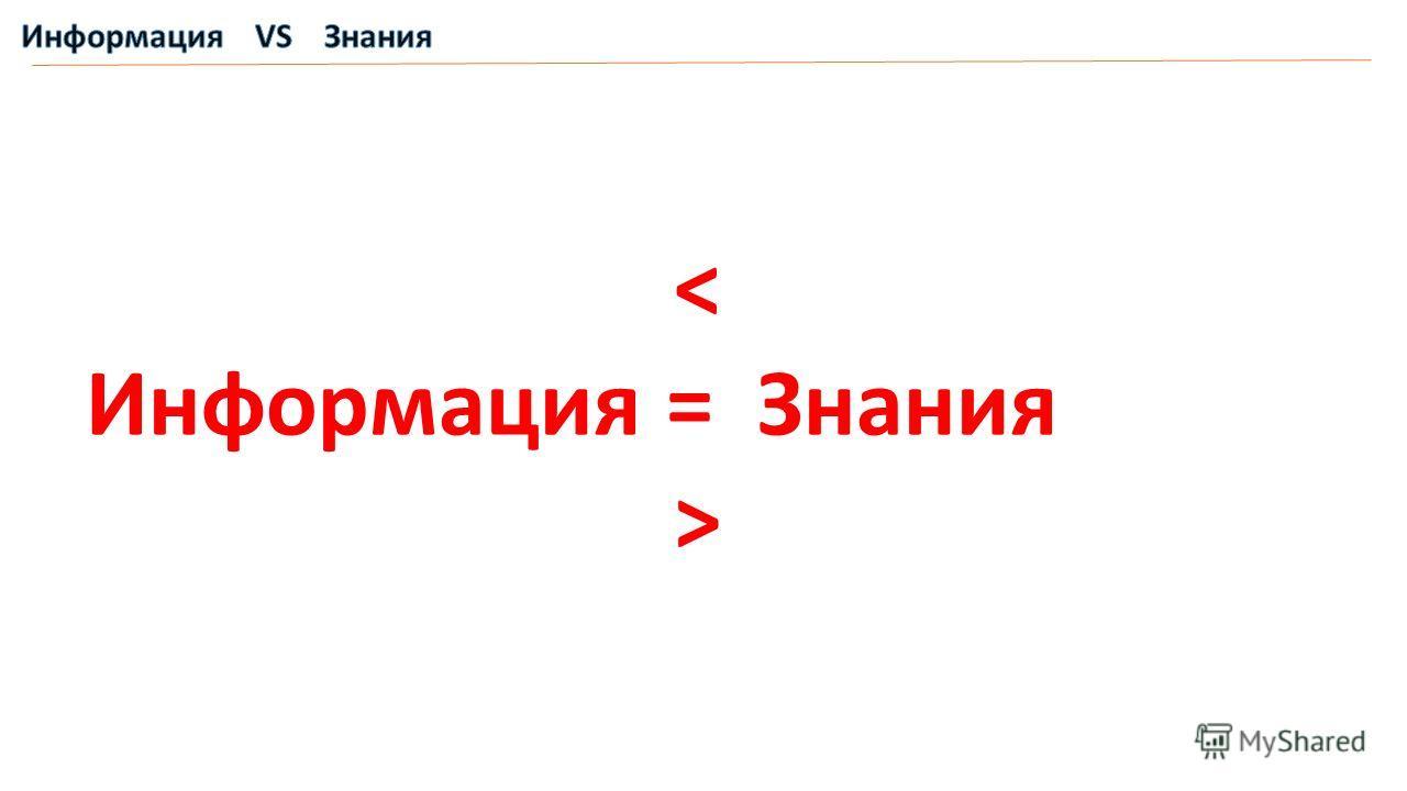 < Информация = Знания >