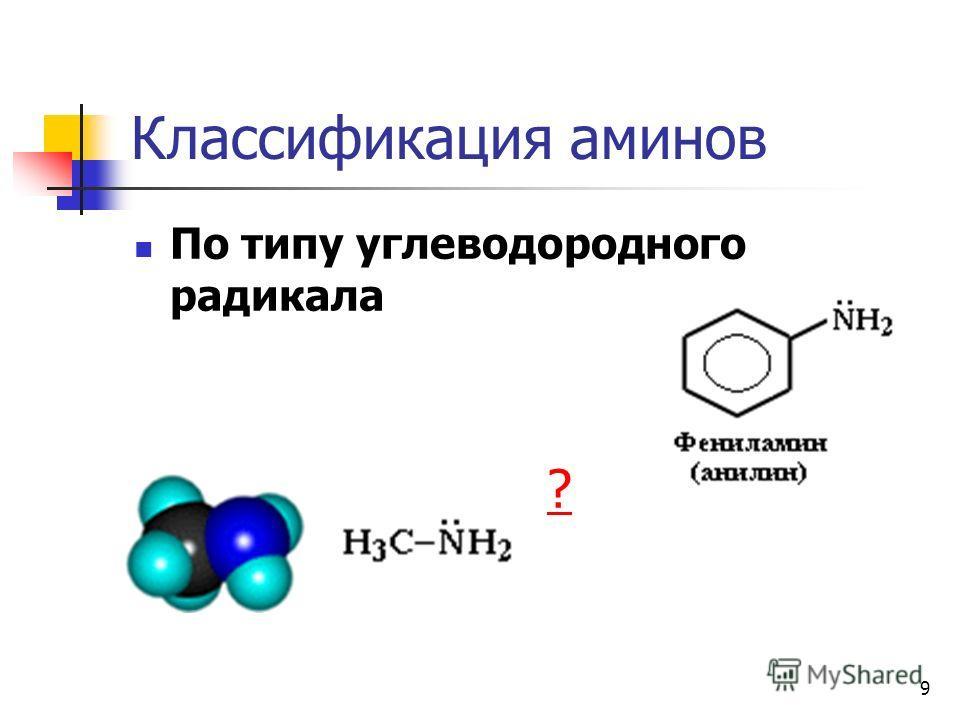 9 Классификация аминов По типу углеводородного радикала ?