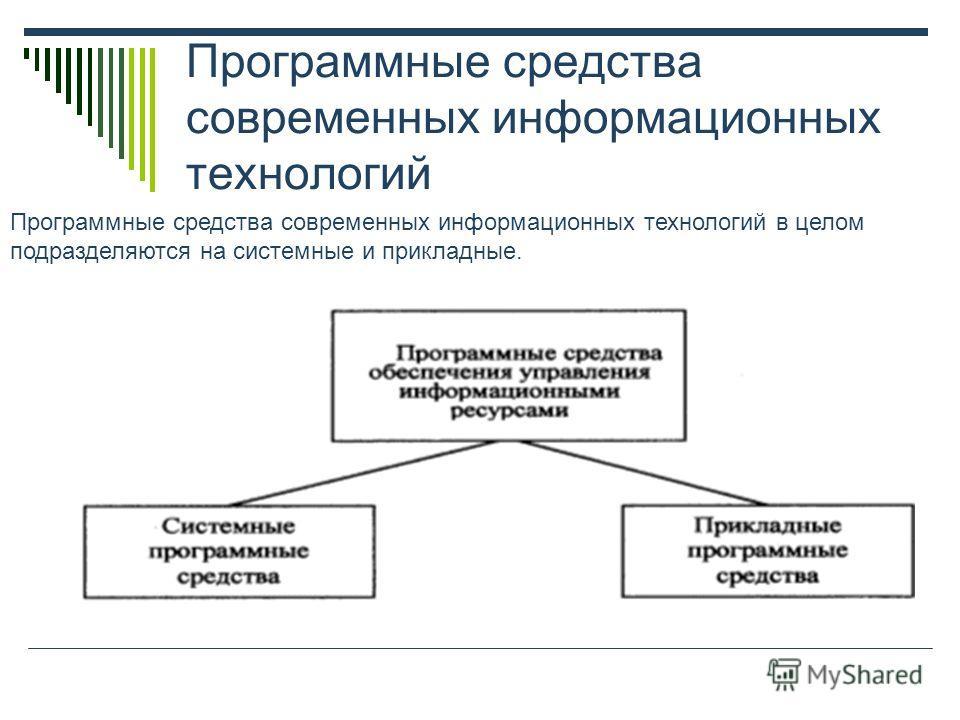 Программные средства современных информационных технологий Программные средства современных информационных технологий в целом подразделяются на системные и прикладные.