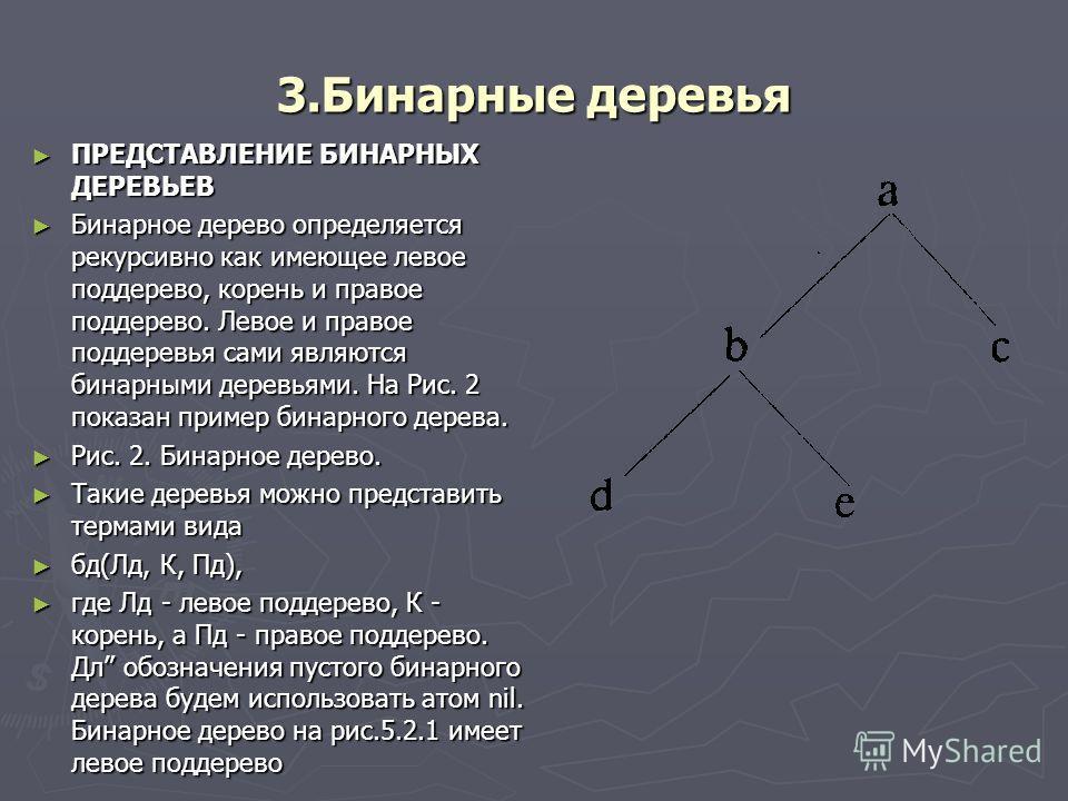 3.Бинарные деревья ПРЕДСТАВЛЕНИЕ БИНАРНЫХ ДЕРЕВЬЕВ ПРЕДСТАВЛЕНИЕ БИНАРНЫХ ДЕРЕВЬЕВ Бинарное дерево определяется рекурсивно как имеющее левое поддерево, корень и правое поддерево. Левое и правое поддеревья сами являются бинарными деревьями. На Рис. 2
