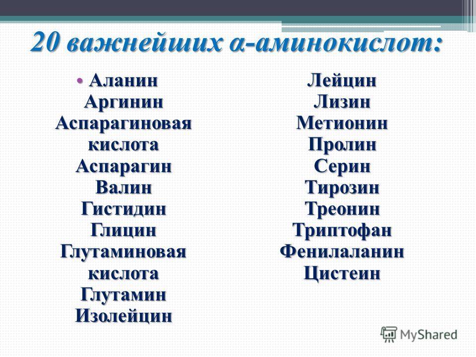 20 важнейших α-аминокислот: Аланин Аргинин Аспарагиновая кислота Аспарагин Валин Гистидин Глицин Глутаминовая кислота Глутамин Изолейцин Лейцин Лизин Метионин Пролин Серин Тирозин Треонин Триптофан Фенилаланин Цистеин Аланин Аргинин Аспарагиновая кис