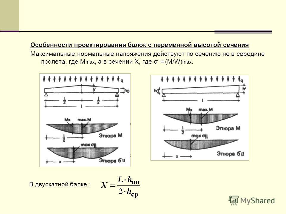 Особенности проектирования балок с переменной высотой сечения Максимальные нормальные напряжения действуют по сечению не в середине пролета, где M max, а в сечении Х, где σ = (M/W) max. В двускатной балке :