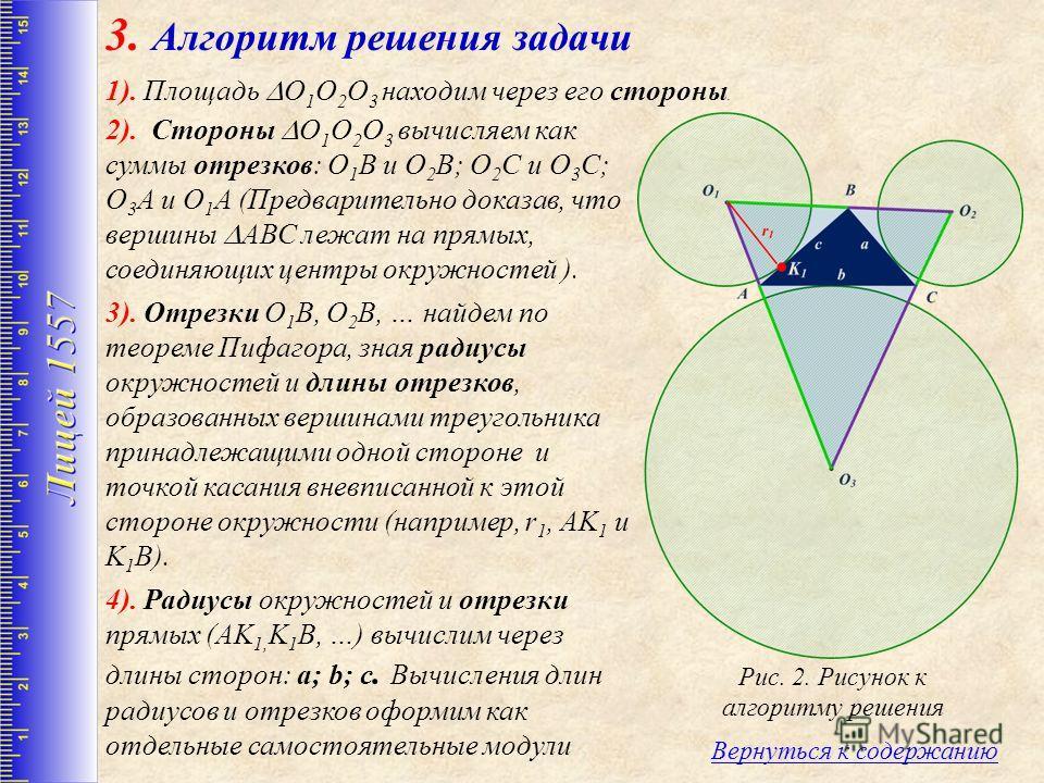 3. Алгоритм решения задачи 2). Стороны O 1 O 2 O 3 вычисляем как суммы отрезков: О 1 В и О 2 В; О 2 С и О 3 С; О 3 А и О 1 А (Предварительно доказав, что вершины АВС лежат на прямых, соединяющих центры окружностей ). 3). Отрезки О 1 В, О 2 В, … найде