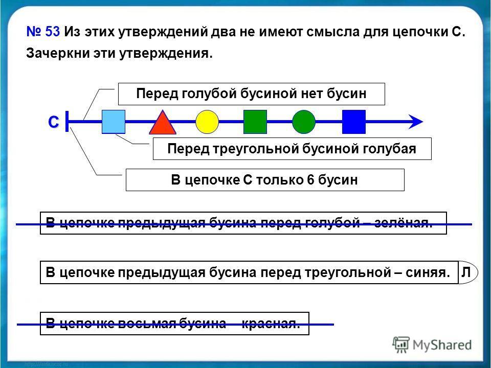 Л 53 Из этих утверждений два не имеют смысла для цепочки С. Зачеркни эти утверждения.С В цепочке предыдущая бусина перед голубой – зелёная. В цепочке предыдущая бусина перед треугольной – синяя. В цепочке восьмая бусина – красная. Перед голубой бусин