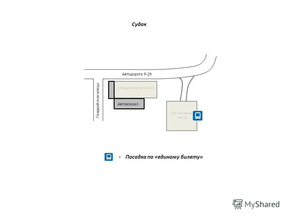 - Посадка по «единому билету» Автовокзал Междугородние рейсы Гвардейская улица Пригородные рейсы Автодорога Р-29 Судак