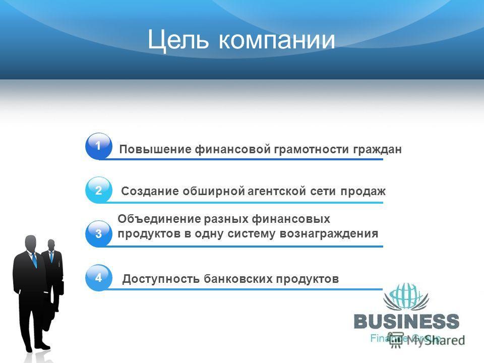Цель компании 1 Объединение разных финансовых продуктов в одну систему вознаграждения Создание обширной агентской сети продаж Повышение финансовой грамотности граждан Доступность банковских продуктов 2 3 4