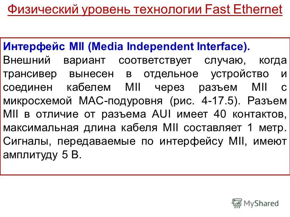 Интерфейс MII (Media Independent Interface). Внешний вариант соответствует случаю, когда трансивер вынесен в отдельное устройство и соединен кабелем MII через разъем MII с микросхемой MAC-подуровня (рис. 4-17.5). Разъем MII в отличие от разъема AUI и