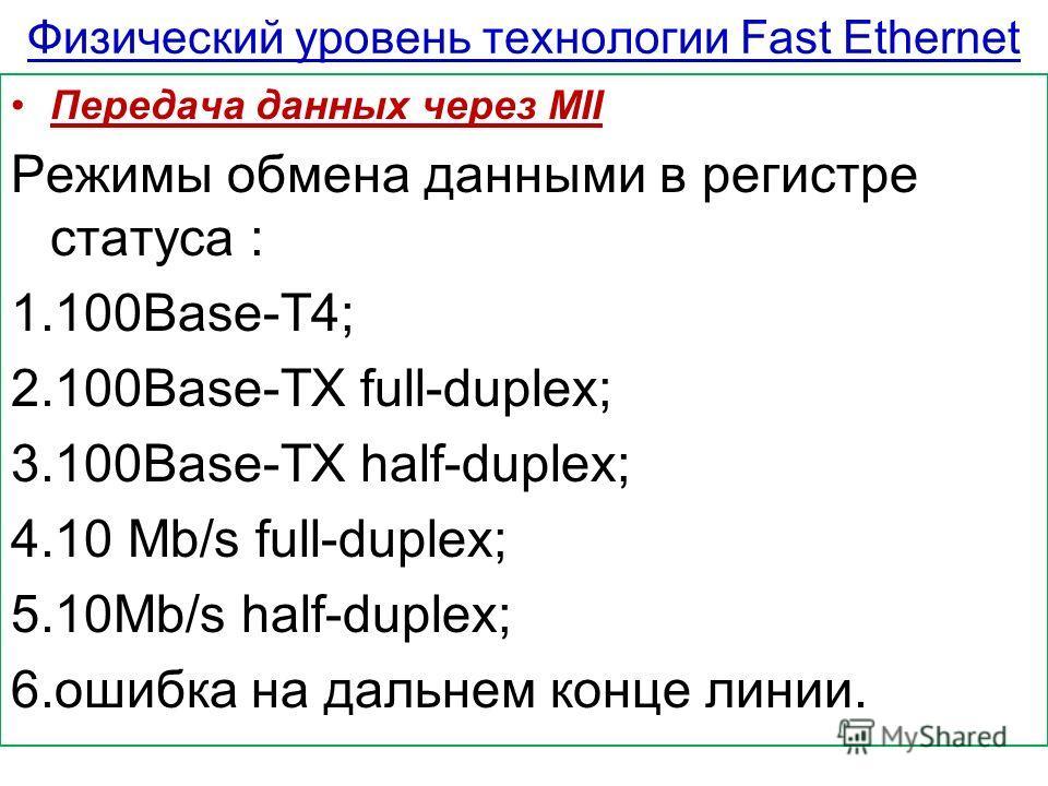 Физический уровень технологии Fast Ethernet Передача данных через MII Режимы обмена данными в регистре статуса : 1.100Base-T4; 2.100Base-TX full-duplex; 3.100Base-TX half-duplex; 4.10 Mb/s full-duplex; 5.10Mb/s half-duplex; 6.ошибка на дальнем конце