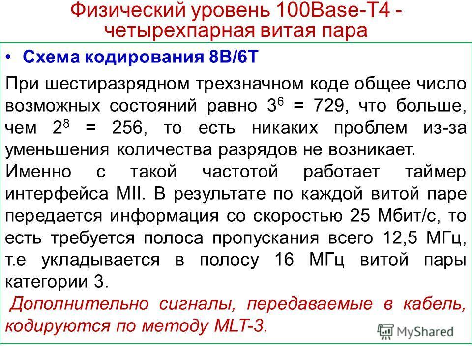 Физический уровень 100Base-T4 - четырехпарная витая пара Схема кодирования 8В/6Т При шестиразрядном трехзначном коде общее число возможных состояний равно 3 6 = 729, что больше, чем 2 8 = 256, то есть никаких проблем из-за уменьшения количества разря