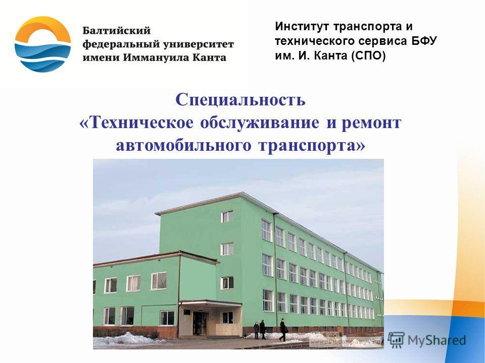 Институт транспорта и технического сервиса БФУ им. И. Канта (СПО) Специальность «Техническое обслуживание и ремонт автомобильного транспорта»