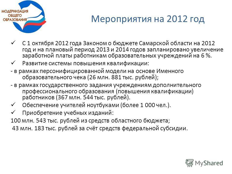 Мероприятия на 2012 год С 1 октября 2012 года Законом о бюджете Самарской области на 2012 год и на плановый период 2013 и 2014 годов запланировано увеличение заработной платы работникам образовательных учреждений на 6 %. Развитие системы повышения кв