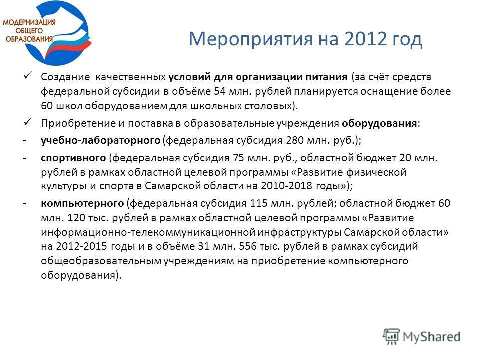 Мероприятия на 2012 год Создание качественных условий для организации питания (за счёт средств федеральной субсидии в объёме 54 млн. рублей планируется оснащение более 60 школ оборудованием для школьных столовых). Приобретение и поставка в образовате