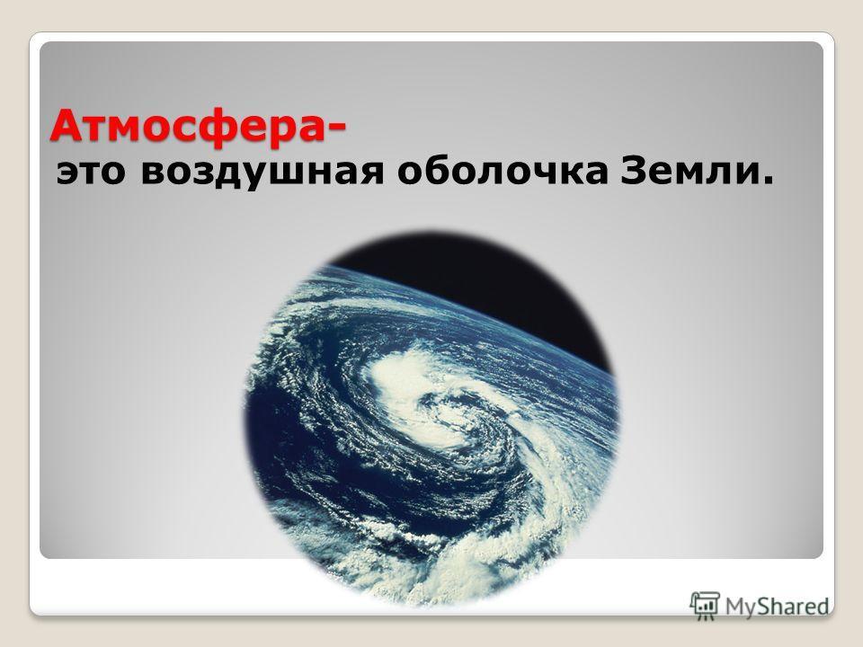 Атмосфера- это воздушная оболочка Земли.
