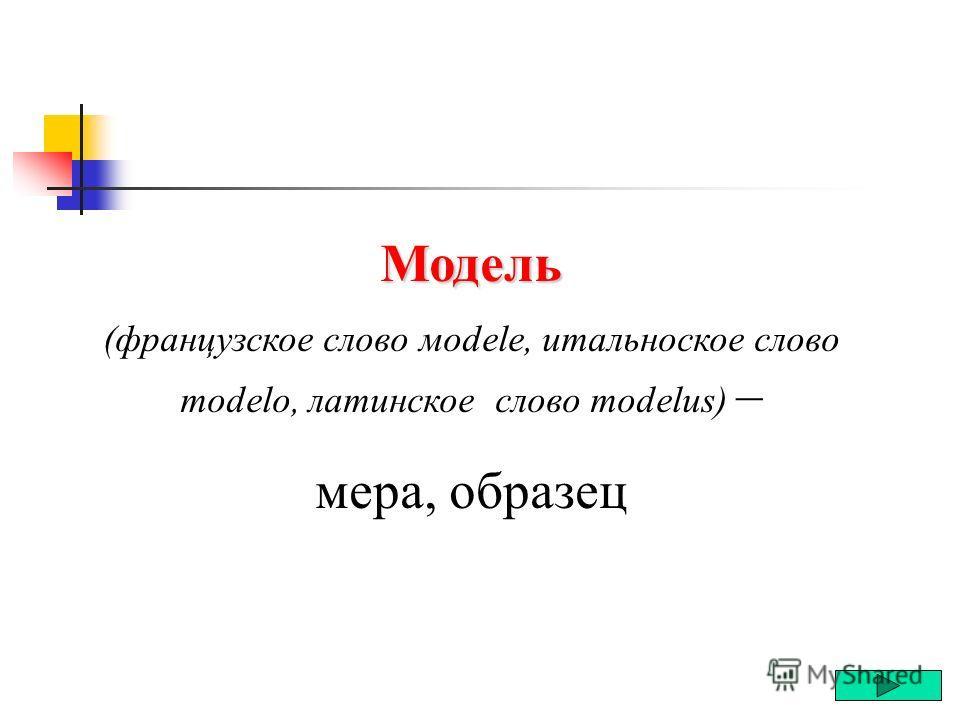 Модель Модель Модель – это некий новый объект, который отражает некоторые существенные свойства изучаемого явления или процесса