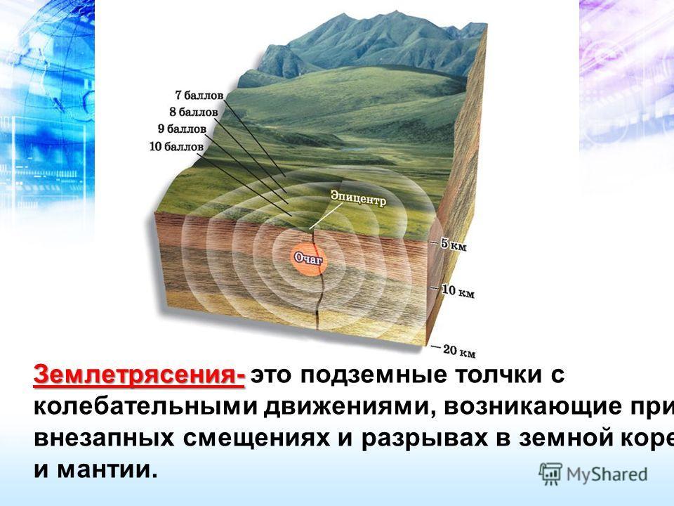 Землетрясения- Землетрясения- это подземные толчки с колебательными движениями, возникающие при внезапных смещениях и разрывах в земной коре и мантии.