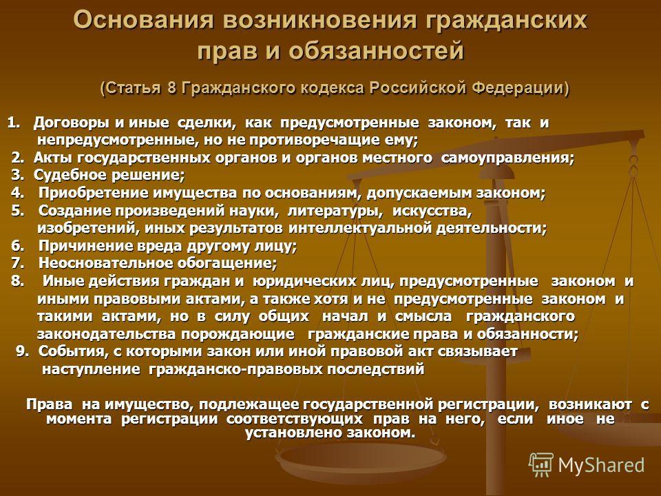 Основания возникновения гражданских прав и обязанностей (Статья 8 Гражданского кодекса Российской Федерации) 1. Договоры и иные сделки, как предусмотренные законом, так и непредусмотренные, но не противоречащие ему; непредусмотренные, но не противоре