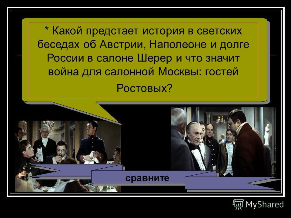 сравните * Какой предстает история в светских беседах об Австрии, Наполеоне и долге России в салоне Шерер и что значит война для салонной Москвы: гостей Ростовых?