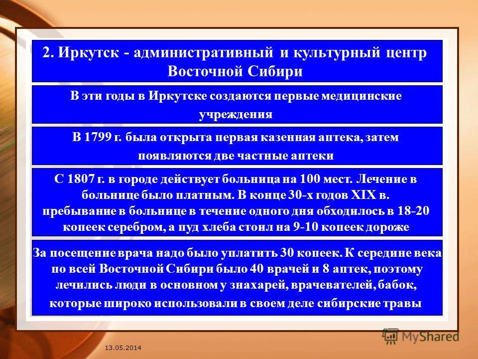 2. Иркутск - административный и культурный центр Восточной Сибири В эти годы в Иркутске создаются первые медицинские учреждения В 1799 г. была открыта первая казенная аптека, затем появляются две частные аптеки С 1807 г. в городе действует больница н