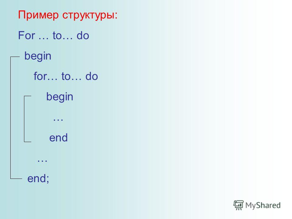Пример структуры: For … to… do begin for… to… do begin … end … end;