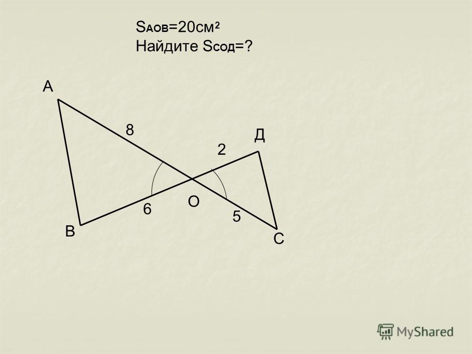 А В С О Д 8 6 2 5 S АОВ =20см Найдите S СОД =? 2