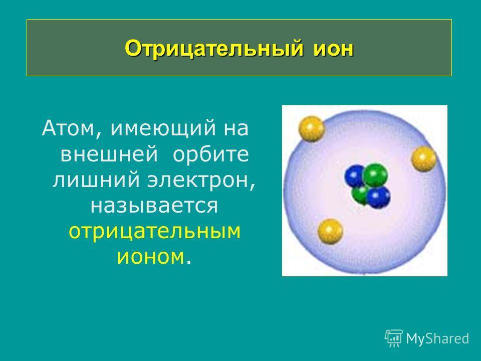 Отрицательный ион Атом, имеющий на внешней орбите лишний электрон, называется отрицательным ионом.