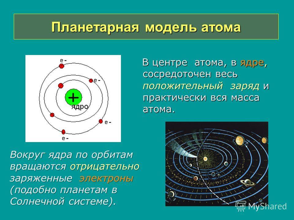Планетарная модель атома В центре атома, в ядре, сосредоточен весь положительный заряд и практически вся масса атома. В центре атома, в ядре, сосредоточен весь положительный заряд и практически вся масса атома. Вокруг ядра по орбитам вращаются отрица
