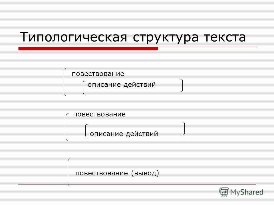 Типологическая структура текста повествование описание действий повествование описание действий повествование (вывод)
