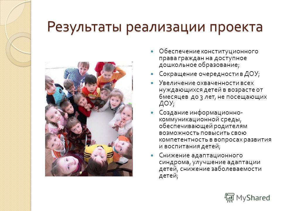Результаты реализации проекта Обеспечение конституционного права граждан на доступное дошкольное образование ; Сокращение очередности в ДОУ ; Увеличение охваченности всех нуждающихся детей в возрасте от 6 месяцев до 3 лет, не посещающих ДОУ ; Создани
