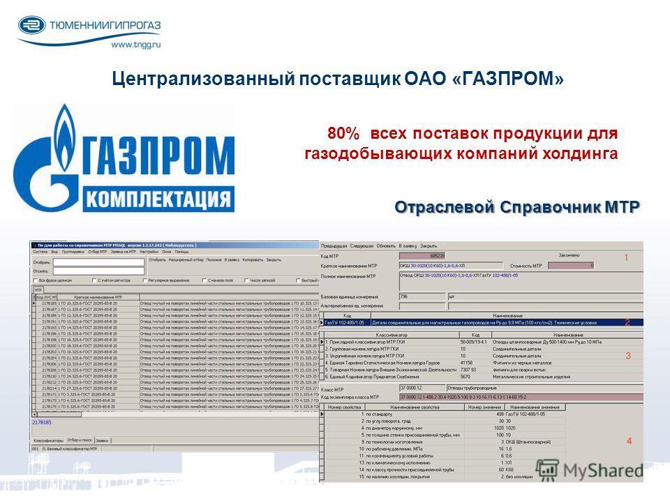 Централизованный поставщик ОАО «ГАЗПРОМ» 80% всех поставок продукции для газодобывающих компаний холдинга Отраслевой Справочник МТР