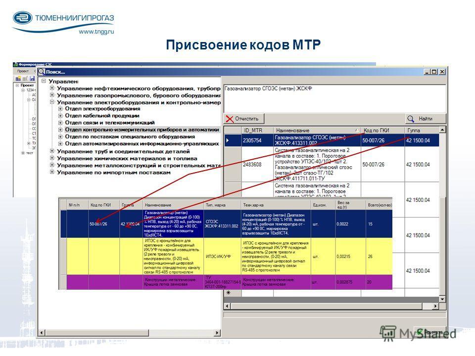 Присвоение кодов МТР