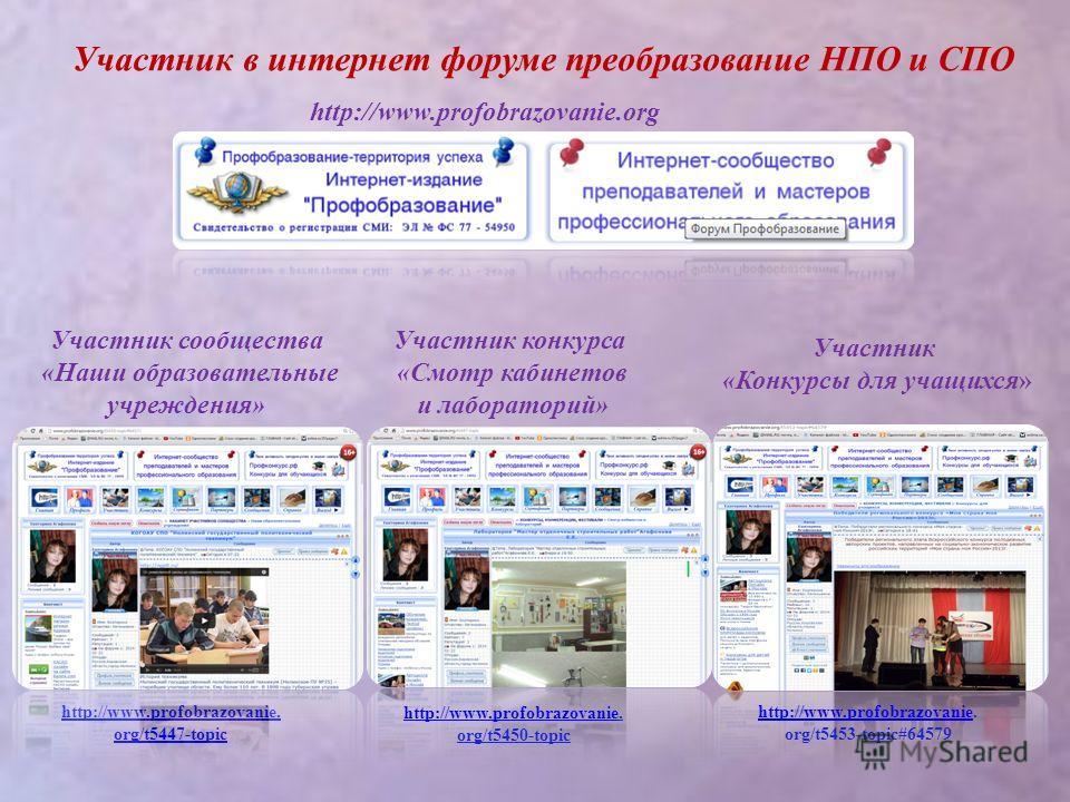 Участник в интернет форуме преобразование НПО и СПО http://www.profobrazovanie. org/t5447-topic http://www.profobrazovaniehttp://www.profobrazovanie. org/t5450-topic Участник сообщества «Наши образовательные учреждения» Участник конкурса «Смотр кабин