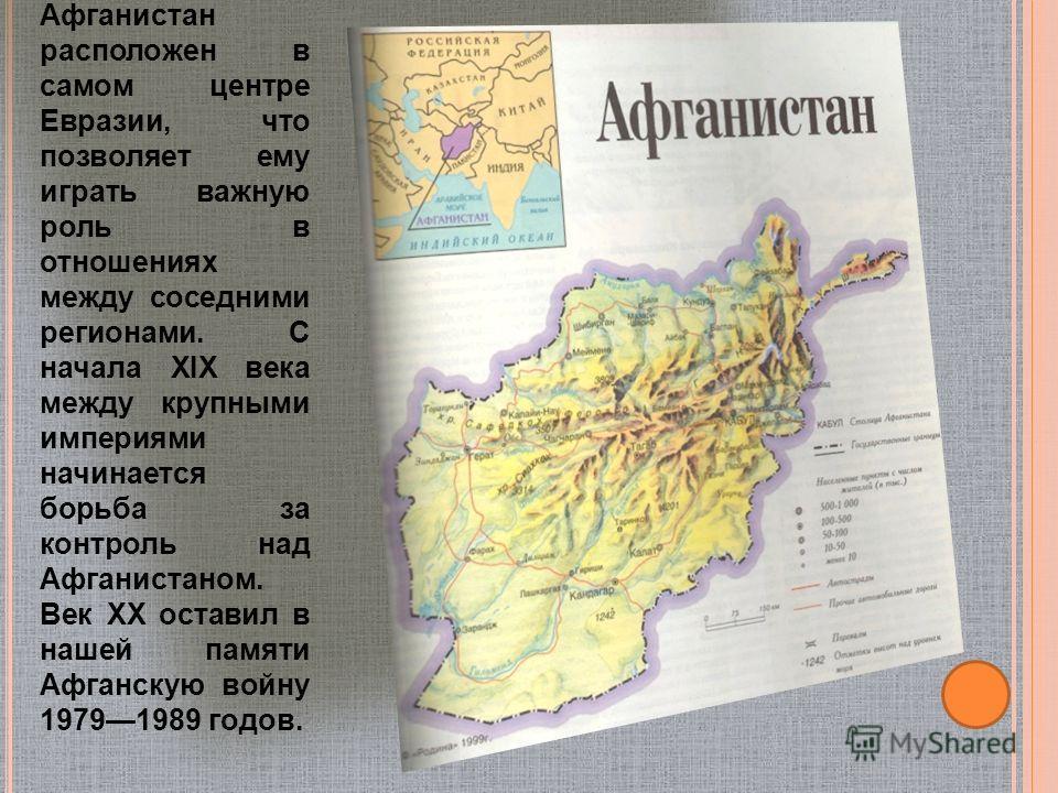 Афганистан расположен в самом центре Евразии, что позволяет ему играть важную роль в отношениях между соседними регионами. С начала XIX века между крупными империями начинается борьба за контроль над Афганистаном. Век XX оставил в нашей памяти Афганс