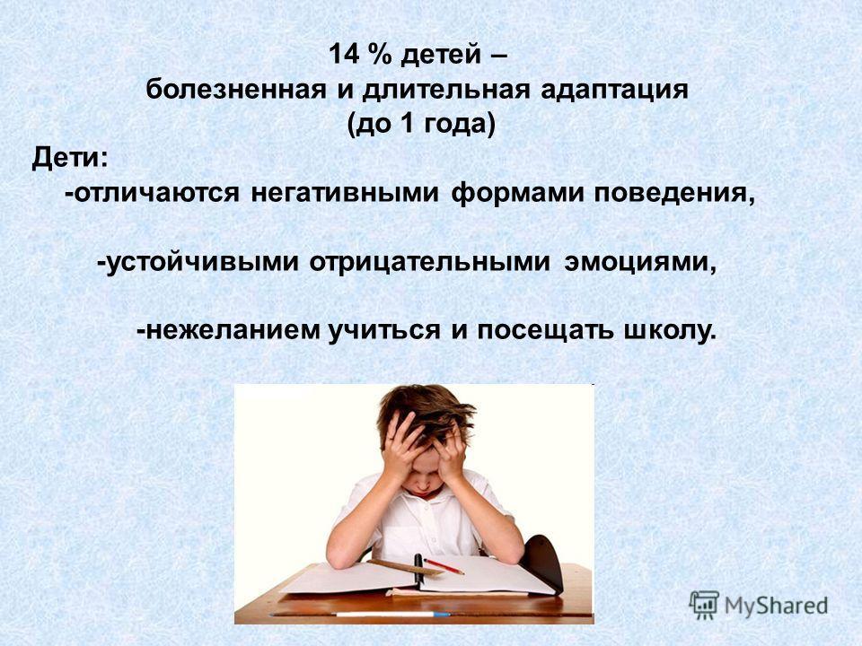 14 % детей – болезненная и длительная адаптация (до 1 года) Дети: -отличаются негативными формами поведения, -устойчивыми отрицательными эмоциями, -нежеланием учиться и посещать школу.