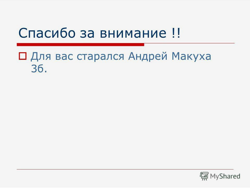 Спасибо за внимание !! Для вас старался Андрей Макуха 3б.