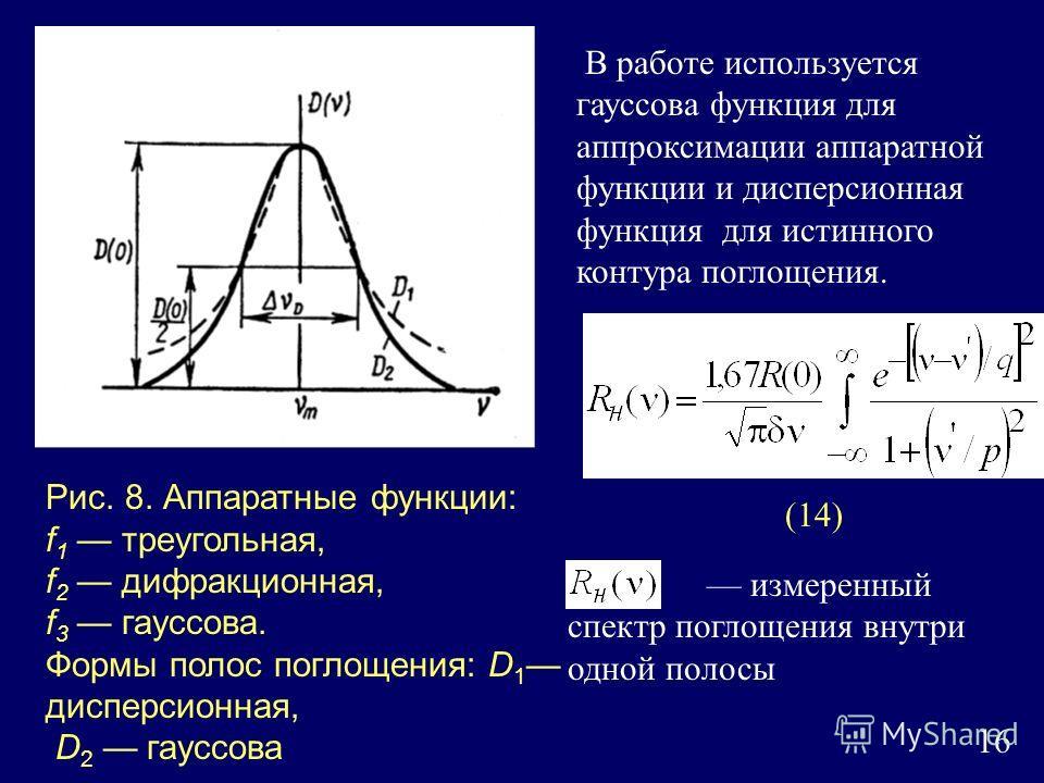 16 Рис. 8. Аппаратные функции: f 1 треугольная, f 2 дифракционная, f 3 гауссова. Формы полос поглощения: D 1 дисперсионная, D 2 гауссова В работе используется гауссова функция для аппроксимации аппаратной функции и дисперсионная функция для истинного