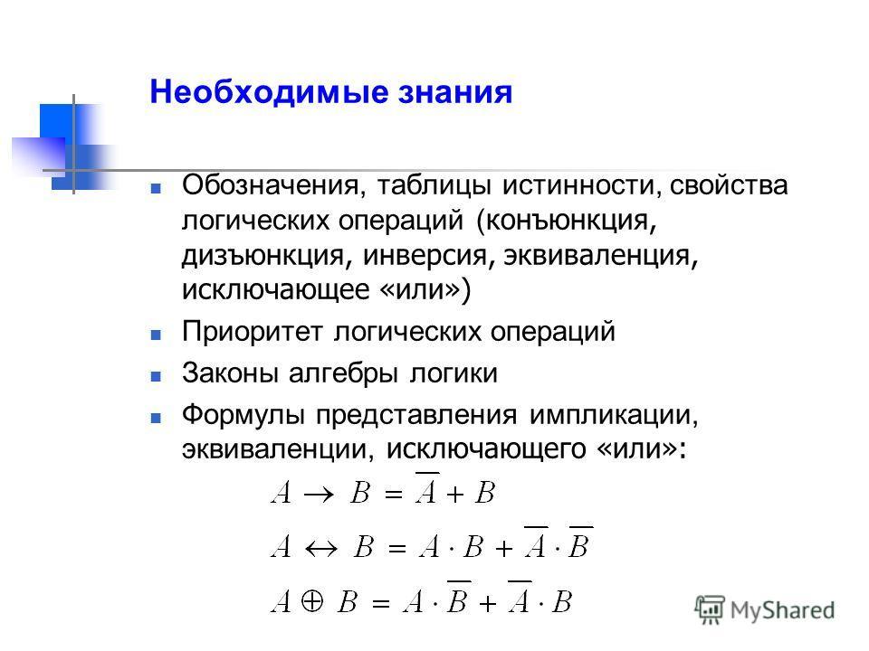 Необходимые знания Обозначения, таблицы истинности, свойства логических операций ( конъюнкция, дизъюнкция, инверсия, эквиваленция, исключающее «или») Приоритет логических операций Законы алгебры логики Формулы представления импликации, эквиваленции,