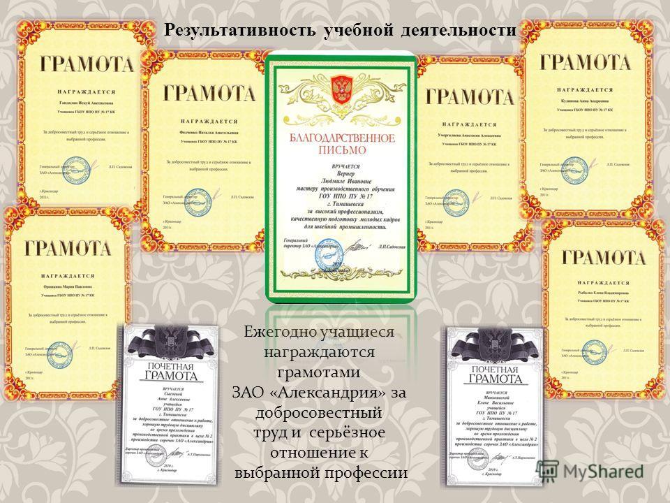 Результативность учебной деятельности Ежегодно учащиеся награждаются грамотами ЗАО «Александрия» за добросовестный труд и серьёзное отношение к выбранной профессии