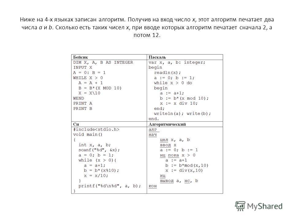 Ниже на 4-х языках записан алгоритм. Получив на вход число x, этот алгоритм печатает два числа a и b. Сколько есть таких чисел x, при вводе которых алгоритм печатает сначала 2, а потом 12.