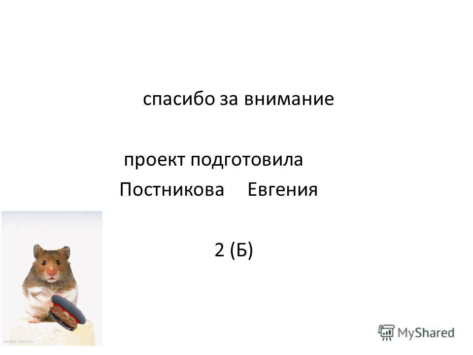 спасибо за внимание проект подготовила Постникова Евгения 2 (Б)
