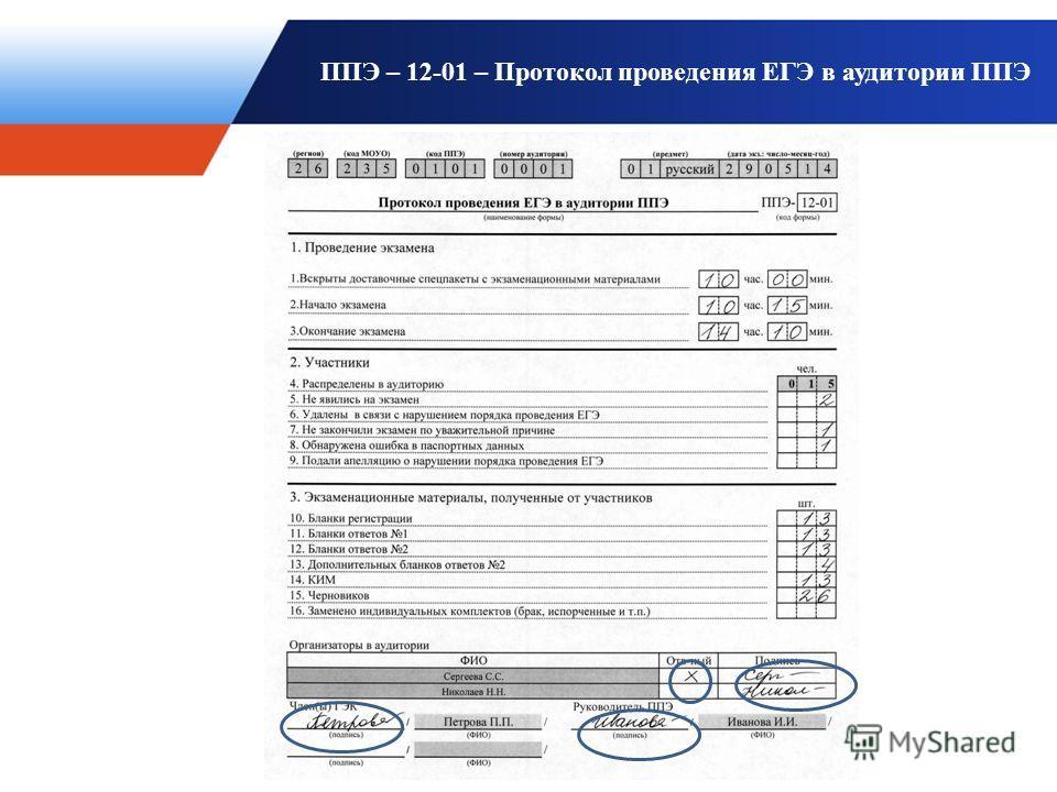 ППЭ – 12-01 – Протокол проведения ЕГЭ в аудитории ППЭ