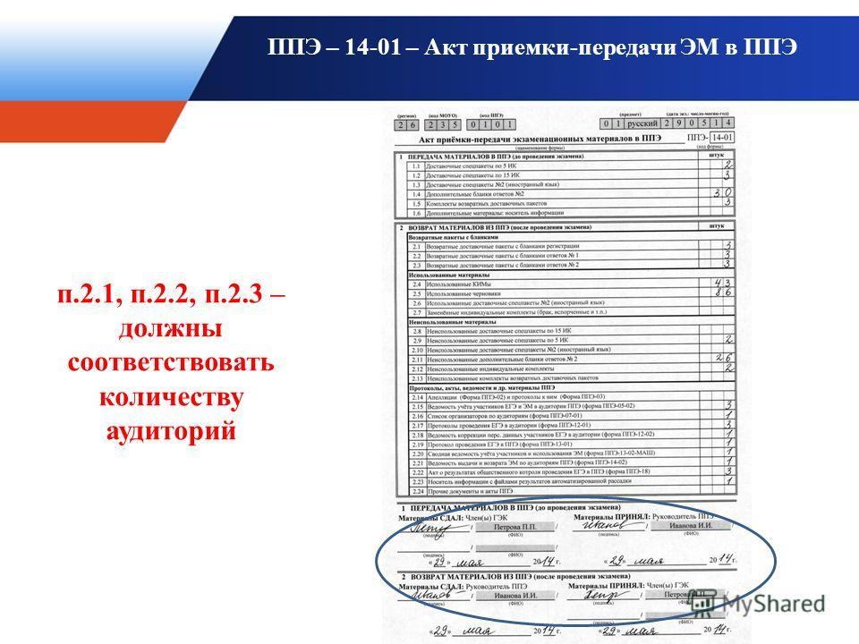 ППЭ – 14-01 – Акт приемки-передачи ЭМ в ППЭ п.2.1, п.2.2, п.2.3 – должны соответствовать количеству аудиторий