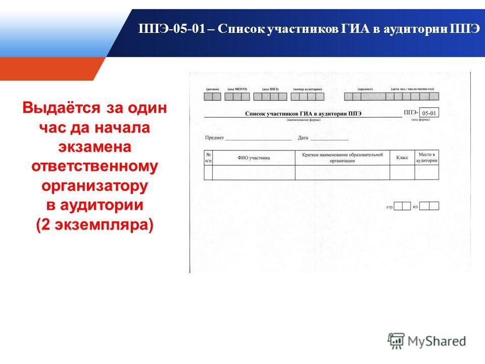 ППЭ-05-01 – Список участников ГИА в аудитории ППЭ Выдаётся за один час да начала экзамена ответственному организатору в аудитории (2 экземпляра)